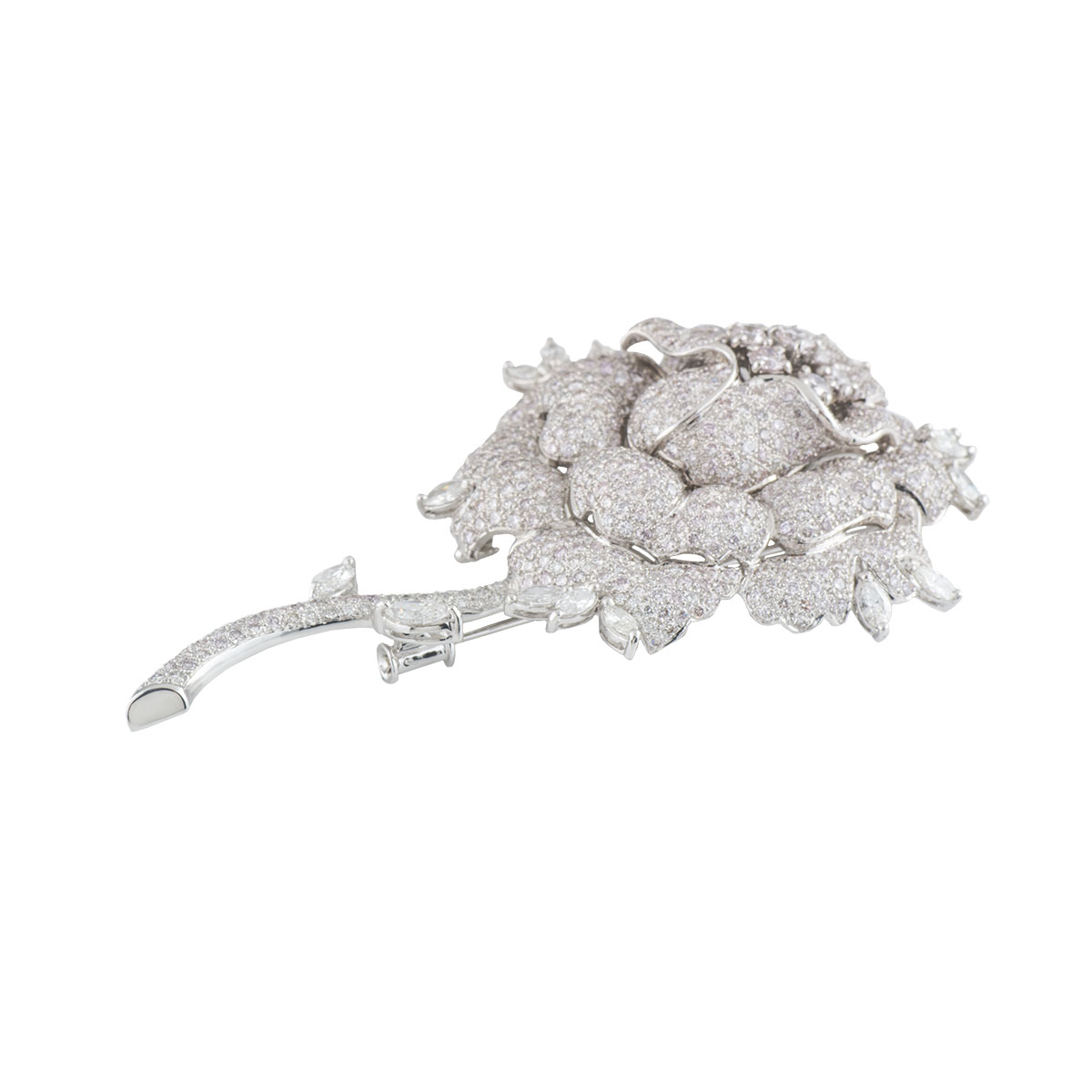 White Gold Diamond Rose Brooch